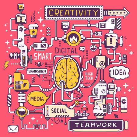 밝은 빨간색 배경에 핵심 단어와 아이콘이있는 회사의 뇌 중심의 모델 작업의 벡터 일러스트 레이 션. 웹 사이트, 광고, 배너, 포스터, 보드 및 인쇄를