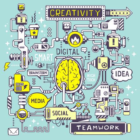pensamiento creativo: Vector ilustraci�n de un modelo de trabajo de un centro cerebral de la empresa con la palabra clave y el icono sobre un fondo azul. El dise�o del arte de l�nea para la web, sitio, publicidad, bandera, cartel, bordo y de impresi�n.