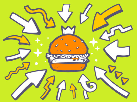Vector illustration of arrows point to icon of big burger with crown on green background. Line art design for web, site, advertising, banner, poster, board and print. Vector