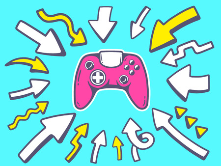 playstation: Vector illustration of arrows point to icon of joystick on blue background. Line art design for web, site, advertising, banner, poster, board and print.