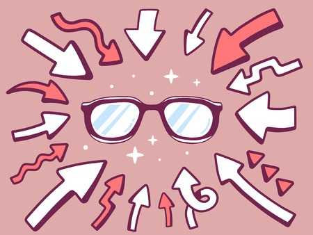 eyes looking down: Vector illustration of arrows point to icon of  sunglasses on brown background. Line art design for web, site, advertising, banner, poster, board and print. Illustration
