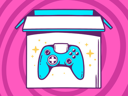 playstation: Vector illustration of open box with icon of  joystick on pink pattern background. Line art design for web, site, advertising, banner, poster, board and print.