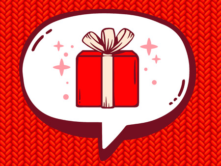Vector illustration of speech bubble with icon of gift box on red jersey pattern background. Line art design for web, site, advertising, banner, poster, board and print. Vector