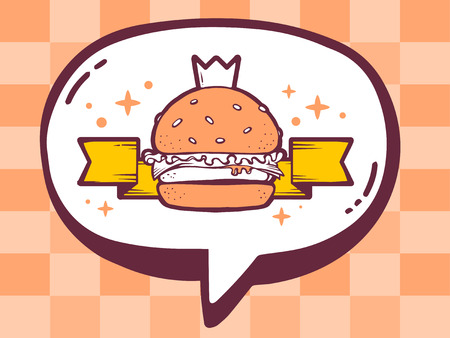 orange pattern: Vector illustration of speech bubble with icon of big burger on orange pattern background. Line art design for web, site, advertising, banner, poster, board and print.