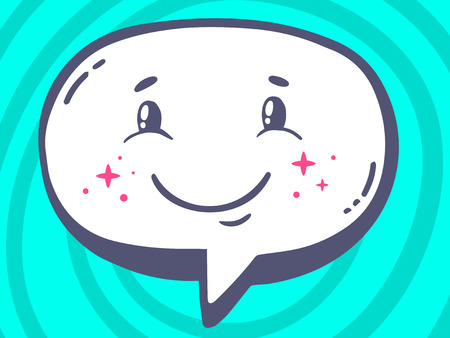 satisfied customer: Vector illustration of speech bubble with icon of smile on blue pattern background. Line art design for web, site, advertising, banner, poster, board and print.