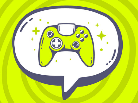 playstation: Vector illustration of speech bubble with icon of joystick on green pattern background. Line art design for web, site, advertising, banner, poster, board and print.