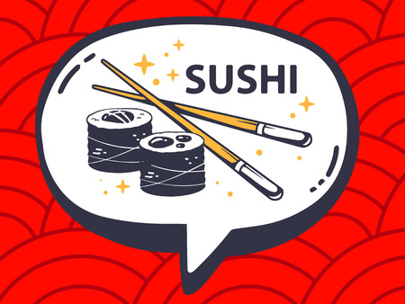 asian business meeting: Vector illustration of speech bubble with icon of sushi on red pattern background. Line art design for web, site, advertising, banner, poster, board and print.