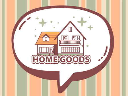 Vector illustration of speech bubble with icon of home goods on orange and  green pattern background. Vector Illustration Of Speech Bubble With Icon Of Home Goods