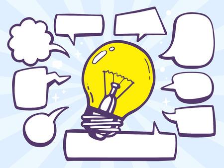Vector illustration of bulb light with speech comics bubbles on blue background. Line art design for web, site, advertising, banner, poster, board and print. Ilustração
