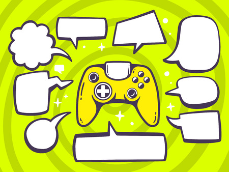 playstation: Vector illustration of joystick with speech comics bubbles on green pattern background. Line art design for web, site, advertising, banner, poster, board and print.