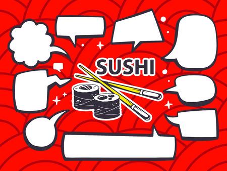business meeting asian: Vector illustration de sushis avec des bandes dessin�es de Speech Bubbles sur le rouge motif de fond. Ligne art design pour le web, le site, la publicit�, banni�re, affiche, carte et imprimer.