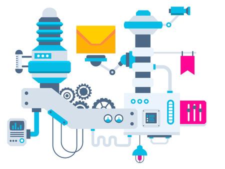 測定パラメーターのエンベロープのため工場のベクトル産業図の背景。バナー、web、サイト、広告、印刷、ポスターの色明るくフラットなデザイン