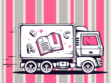 Vector illustration of truck free and fast delivering open book to customer on pattern background. Line art design for web, site, advertising, banner, poster, board and print. Vector