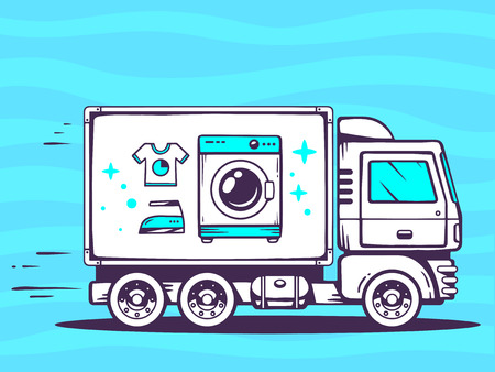 Vector illustration of truck free and fast delivering washing machine to customer on blue background. Line art design for web, site, advertising, banner, poster, board and print. Illustration