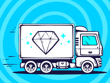faceting: Vector illustration of truck free and fast delivering diamond to customer on blue background. Line art design for web, site, advertising, banner, poster, board and print.