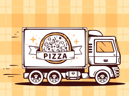 hearty: Vector illustration of truck free and fast delivering pizza to customer on pattern background. Line art design for web, site, advertising, banner, poster, board and print.