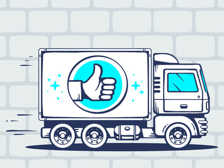 express positivity: Vector illustration of truck free and fast delivering with label of thumb up to customer on gray brick pattern background. Line art design for web, site, advertising, banner, poster, board and print. Illustration