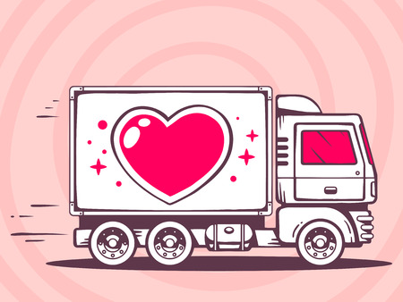 Vector illustration of truck with heart free and fast delivering to customer on pink background. Line art design for web, site, advertising, banner, poster, board and print. Ilustração