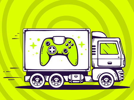 move controller: Vector illustration of truck free and fast delivering joystick to customer on green background. Line art design for web, site, advertising, banner, poster, board and print.