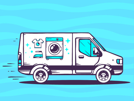 Vector illustration of van free and fast delivering washing machine to customer on blue background. Line art design for web, site, advertising, banner, poster, board and print. Çizim