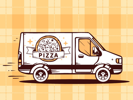 hearty: Vector illustration of van free and fast delivering pizza to customer on yellow background. Line art design for web, site, advertising, banner, poster, board and print. Illustration