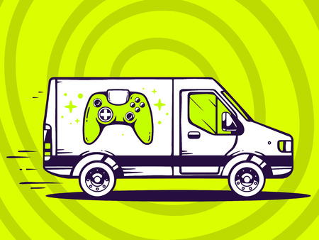 move controller: Vector illustration of van free and fast delivering joystick to customer on green background. Line art design for web, site, advertising, banner, poster, board and print. Illustration