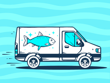 hurry up: Vector illustration of van free and fast delivering fish to customer on blue background. Line art design for web, site, advertising, banner, poster, board and print.