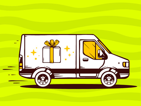 hurry up: Vector illustration of van free and fast delivering gift box to customer on green background. Line art design for web, site, advertising, banner, poster, board and print.