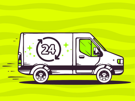 24x7: Vector illustration of van free and fast delivering 24 hours to customer on green background. Line art design for web, site, advertising, banner, poster, board and print. Illustration