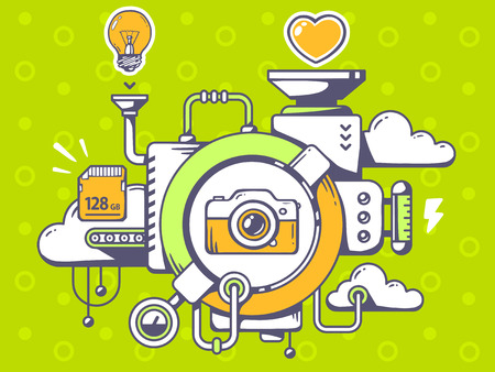 relevant: Vector illustration of mechanism to use photo camera and relevant icons on pattern green background. Line art design for web, site, advertising, banner, poster, board and print.