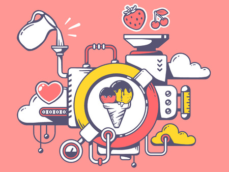 Vector illustration of mechanism to make ice cream and relevant icons on pink background. Line art design for web, site, advertising, banner, poster, board and print.