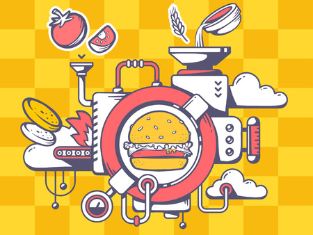 food industry: Vector illustration of mechanism to make big burger and eatable icons on pattern background. Line art design for web, site, advertising, banner, poster, board and print. Illustration