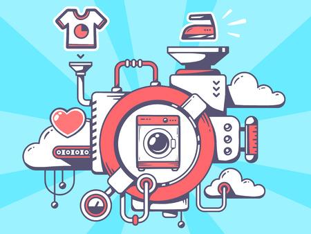 洗濯機と青色の背景に関連するアイコンをもつ機構のベクトル イラスト。Web サイト、広告、バナー、ポスター、ボード、印刷ラインのアート デザ
