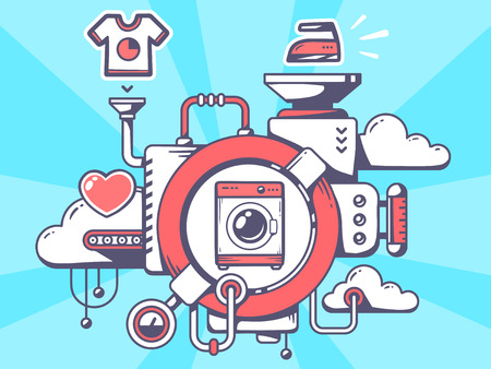 Vector illustration of mechanism with washing machine and relevant icons on blue background. Line art design for web, site, advertising, banner, poster, board and print. 일러스트