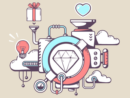 relevant: Vector illustration of mechanism with diamond and relevant icons on light background. Line art design for web, site, advertising, banner, poster, board and print. Illustration
