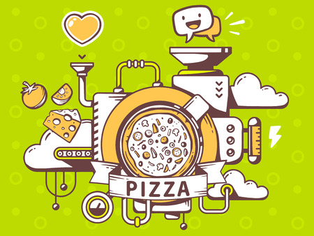 relevant: Vector illustration of mechanism to make pizza and relevant icons on green background. Line art design for web, site, advertising, banner, poster, board and print.