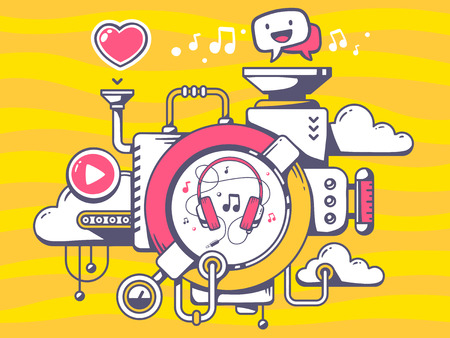 relevant: Vector illustration of mechanism with music headphones and relevant icons on orange pattern background. Line art design for web, site, advertising, banner, poster, board and print.