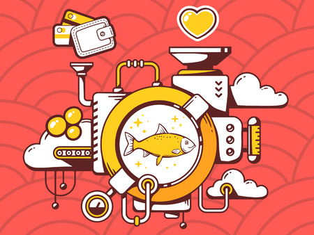 relevant: Vector illustration of mechanism with fish and relevant icons on red pattern background. Line art design for web, site, advertising, banner, poster, board and print.