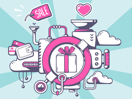 relevant: Vector illustration of mechanism to buy gift box and relevant icons on blue pattern background. Line art design for web, site, advertising, banner, poster, board and print.