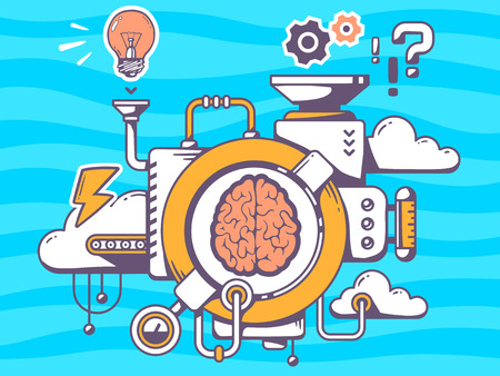 smart person: Vector illustration of mechanism to research brain and relevant icons on blue pattern background. Line art design for web, site, advertising, banner, poster, board and print.