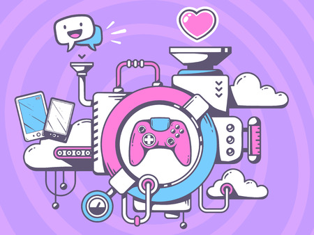 Vector illustration of mechanism to play  joystick and relevant icons on pattern background. Line art design for web, site, advertising, banner, poster, board and print.