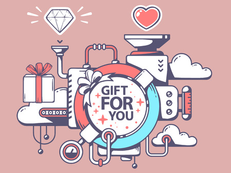 relevant: Vector illustration of mechanism to make gift and relevant icons on pink background. Line art design for web, site, advertising, banner, poster, board and print. Illustration
