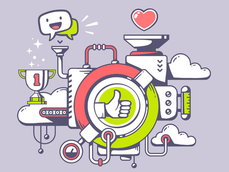 Vector illustration of mechanism with label thumb up and relevant icons on light background. Line art design for web, site, advertising, banner, poster, board and print. Illustration