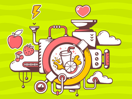 relevant: Vector illustration of mechanism to make fresh fruit juice and relevant icons on green background. Line art design for web, site, advertising, banner, poster, board and print.