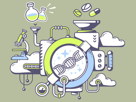 relevant: Vector illustration of mechanism to study  dna molecule chain and relevant icons on green background. Line art design for web, site, advertising, banner, poster, board and print.