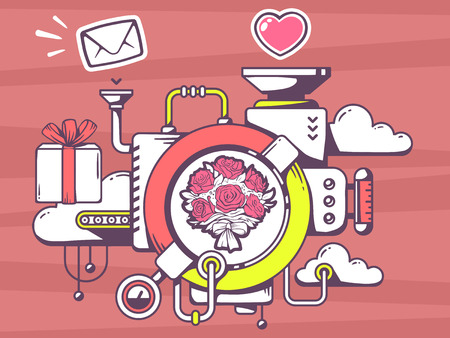 relevant: Vector illustration of mechanism to make a present bouquet of flowers and relevant icons on red background. Line art design for web, site, advertising, banner, poster, board and print. Illustration