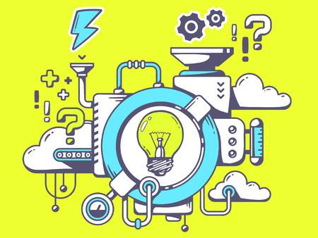 Vector illustration of mechanism to come up with the idea with light bulb and relevant icons on green background. Line art design for web, site, advertising, banner, poster, board and print.