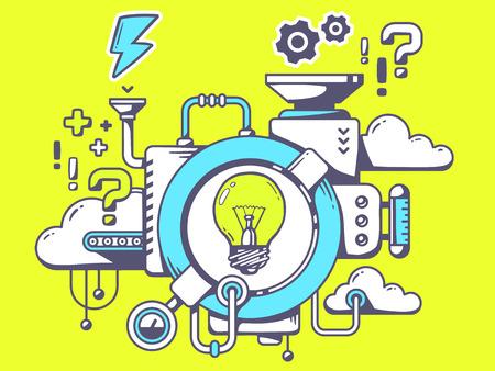 Vektor-Illustration des Mechanismus zu kommen mit der Idee mit Glühlampe und entsprechenden Symbole auf grünem Hintergrund. Linie Kunst-Design für das Web, Website, Werbung, Banner, Poster, Vorstand und drucken. Illustration