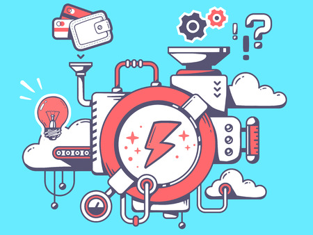relevant: Vector illustration of mechanism to make lightning and relevant icons on blue background. Line art design for web, site, advertising, banner, poster, board and print. Illustration