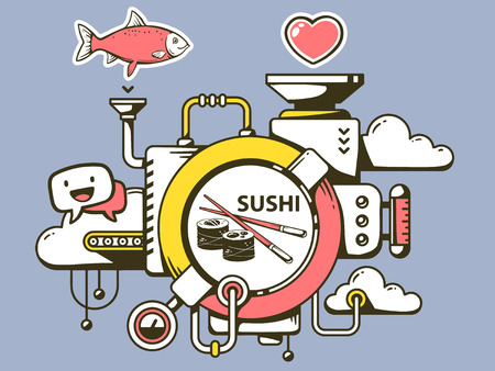 relevant: Vector illustration of mechanism to make sushi and relevant icons on gray background. Line art design for web, site, advertising, banner, poster, board and print.